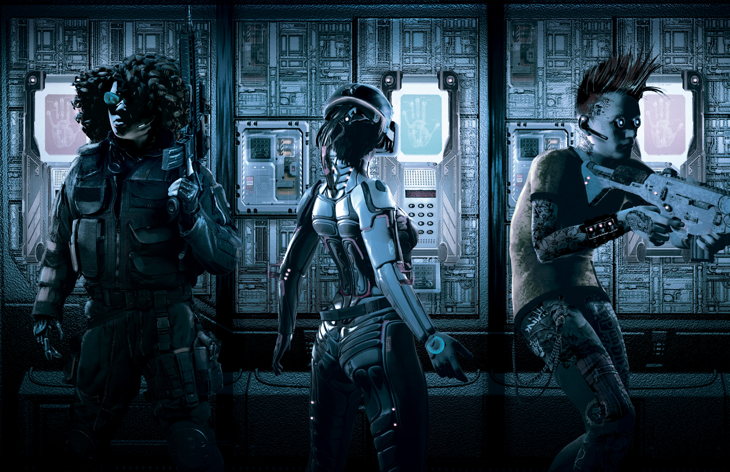 Three edgerunners cautiously make their way down a corridor during an infiltration mission.