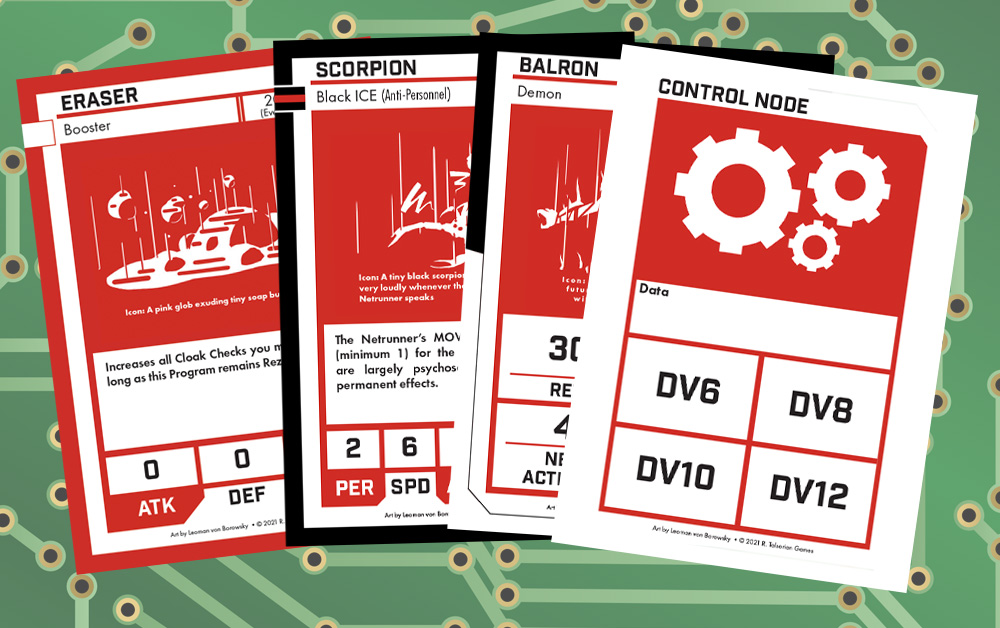 Four cards from the Cyberpunk RED Netrunning Deck.